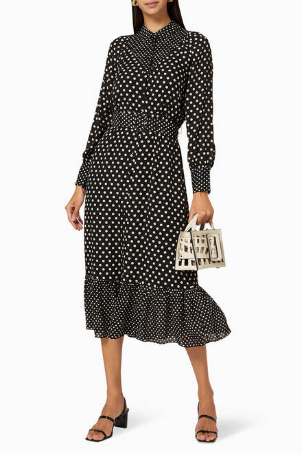 hover state of Spot Print Silk Shirt Dress