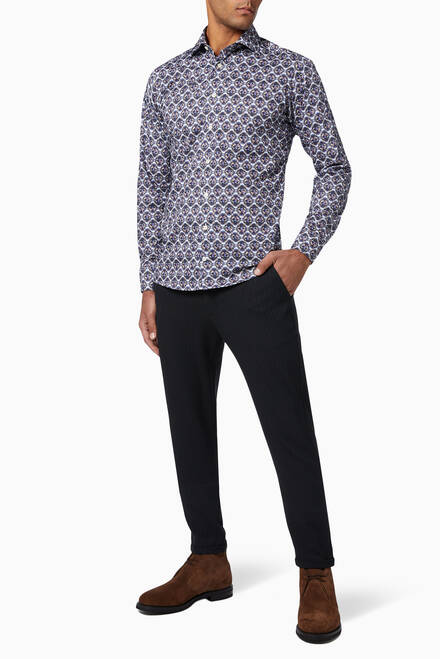 hover state of Medallion Print Slim Fit Shirt