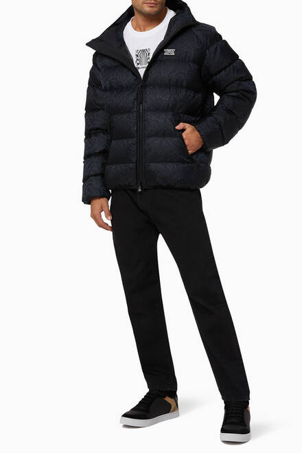 hover state of Monogram Jacquard Goose-Filled Puffer Jacket