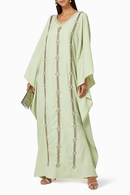 hover state of Bead Embellished Thoub-Style Kaftan