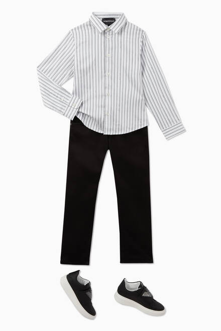 hover state of EA Text Striped Stretch Cotton Shirt