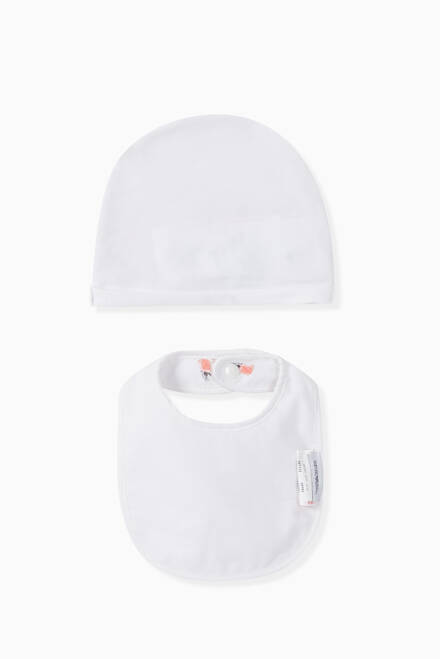 hover state of EA Rose Cotton Hat & Bib Set