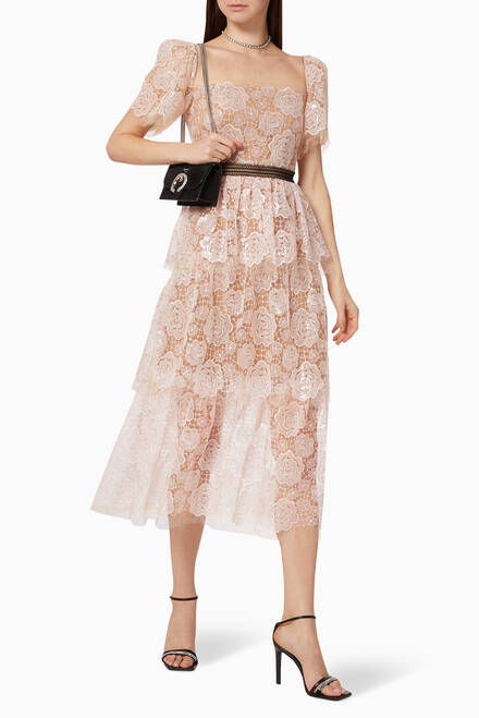 hover state of Rose Lace Tiered Dress