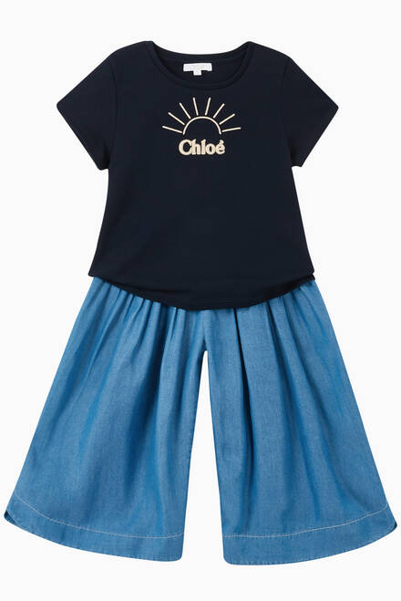 hover state of Pleated Denim Culottes