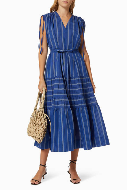hover state of Agnes Stripe Dress in Cotton