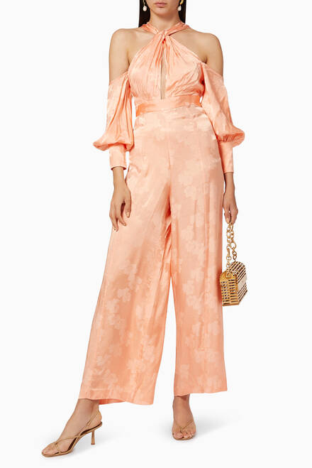 hover state of Memory Lane Satin Jumpsuit