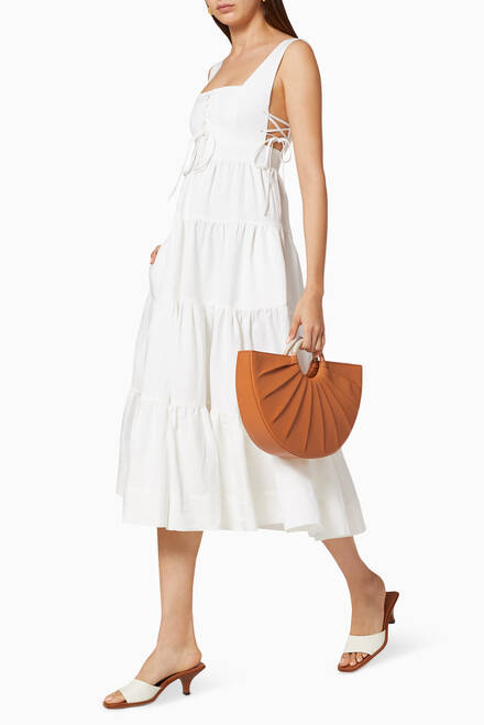 hover state of Blanca Linen Lace Up Dress