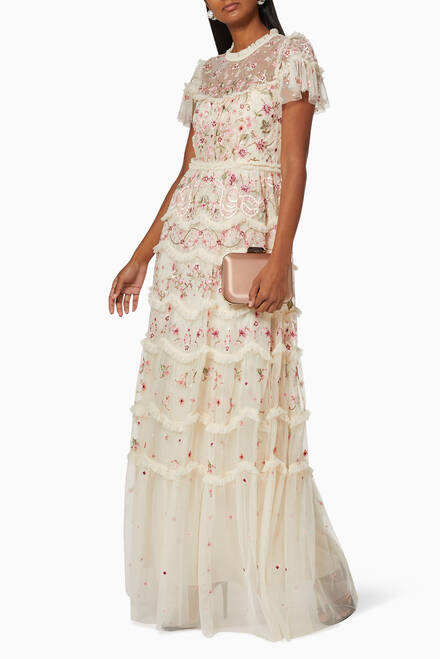 hover state of Elsie Tiered Lace Gown