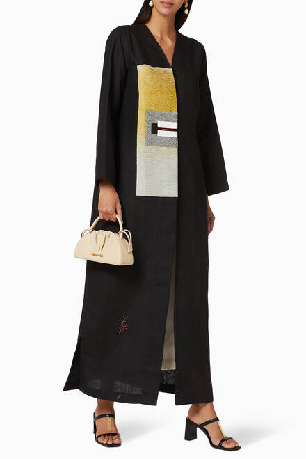 hover state of Contrasting Panel Linen Abaya