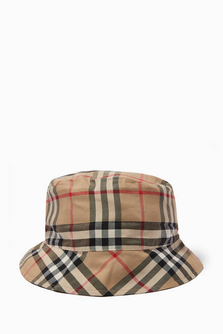 hover state of Reversible Bucket Hat in Vintage Check and Icon Stripe