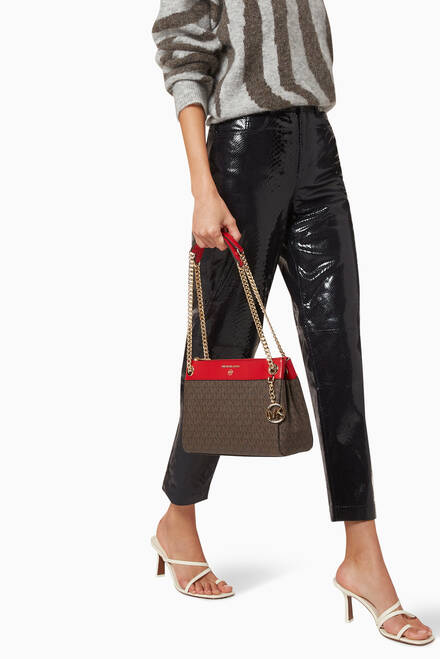 hover state of Small Susan Convertible Shoulder Bag in Logo Canvas & Leather