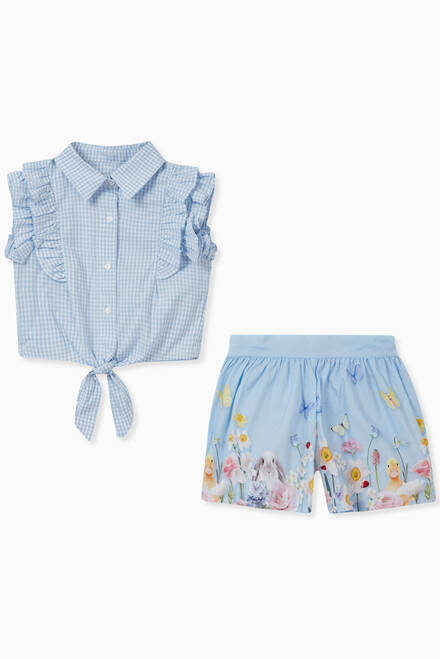 hover state of Gingham Shirt & Floral Shorts Set