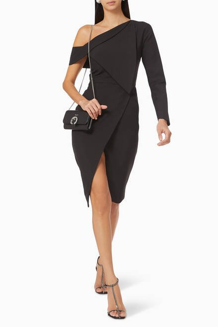 hover state of Folded Wrap Midi Dress