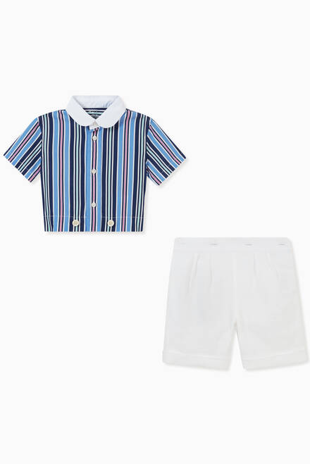 hover state of Striped Shirt & Shorts Set in Cotton
