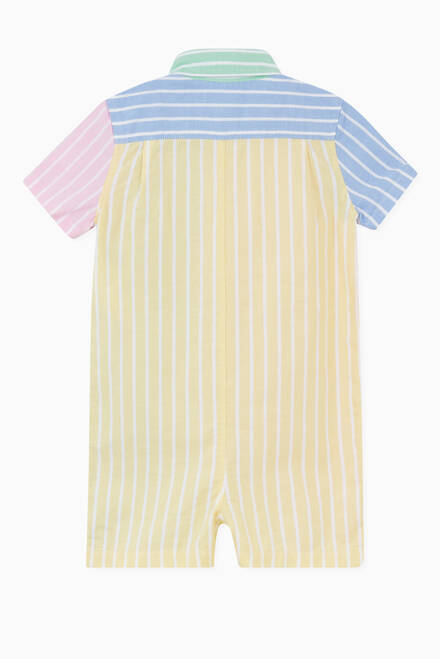 hover state of Striped Oxford Colour-block Romper in Cotton