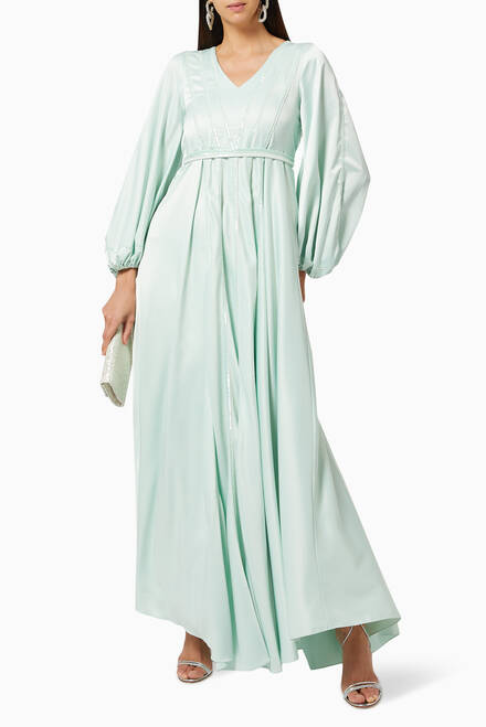 hover state of Katniss Embellished Satin Maxi Dress