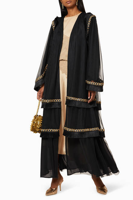 hover state of Tiered Fringe Tulle Abaya