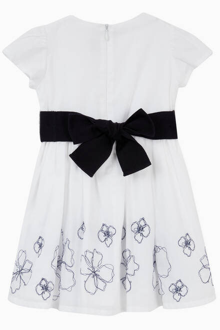 hover state of Embroidered Floral Dress with Bow in Cotton