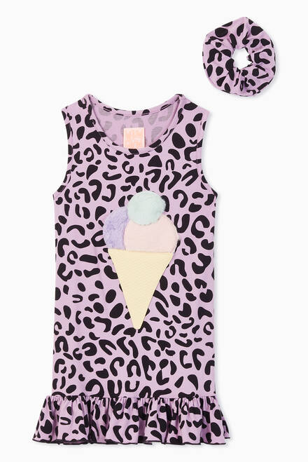 hover state of Roberta Leopard Jersey Dress with Scrunchie