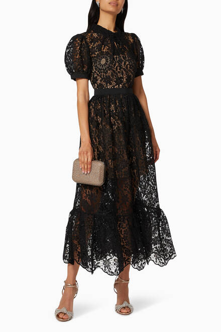 hover state of Guipure Lace Midi Dress