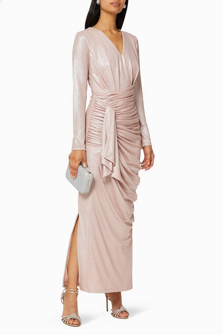 hover state of Metallic Draped Maxi Dress