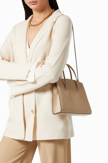hover state of Mini Minimal Tote Bag in Lizard Embossed Calf Leather