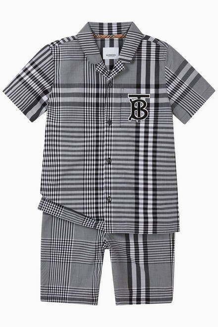 hover state of Monogram Motif Shirt in Check Cotton Poplin