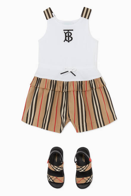 hover state of Monogram Playsuit in Jersey & Icon Stripe Cotton