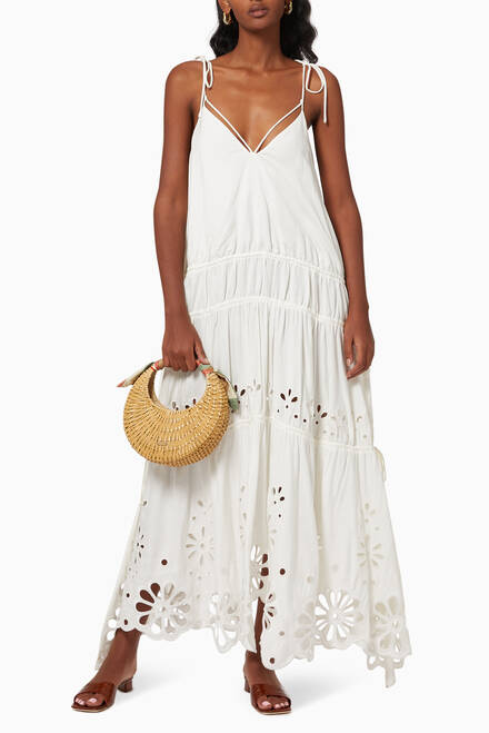 hover state of Juna Broderie Anglaise Midi Dress