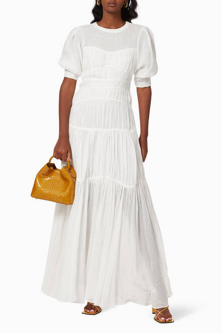 hover state of Fira Ruched Maxi Dress