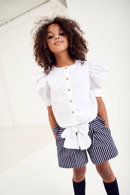 hover state of Stripe Shorts with Frills
