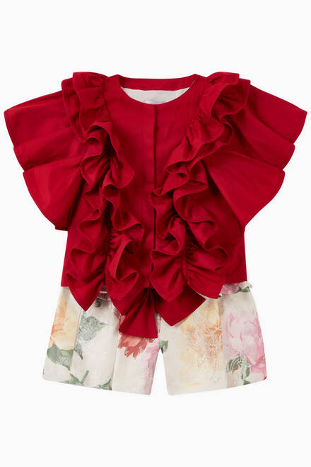 hover state of Floral Shorts with Frills