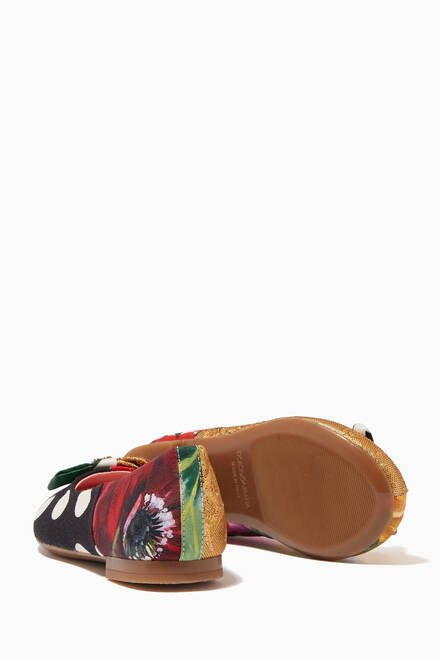 hover state of Ballet Flats in Crêpe de Chine & Jacquard Patchwork