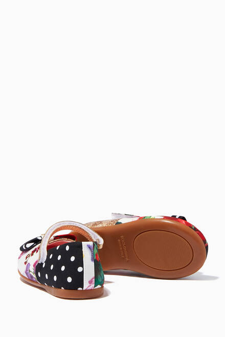 hover state of Mary Janes Ballet Flats in Crêpe de Chine and Jacquard Patchwork
