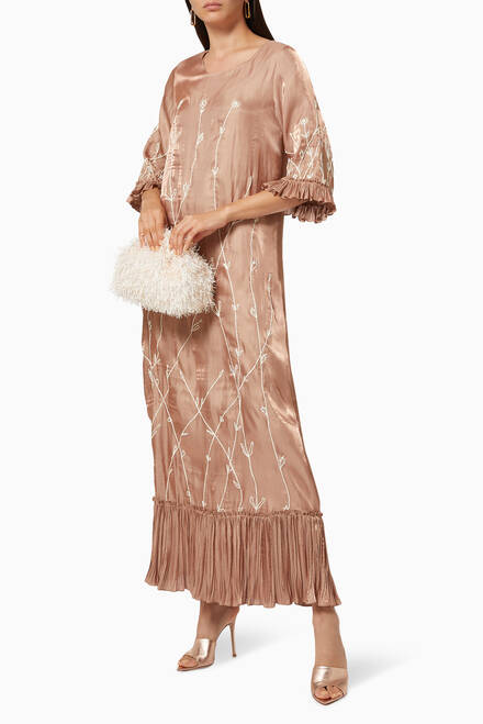 hover state of Organza Kaftan with Embroidery