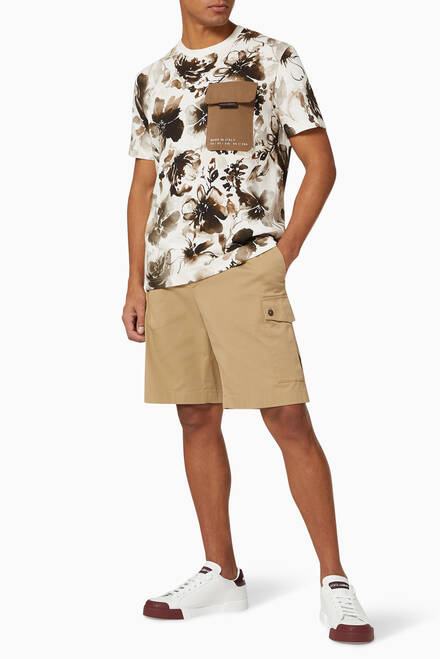 hover state of T-shirt with Cargo Pocket in Floral Camo-print Cotton Jersey