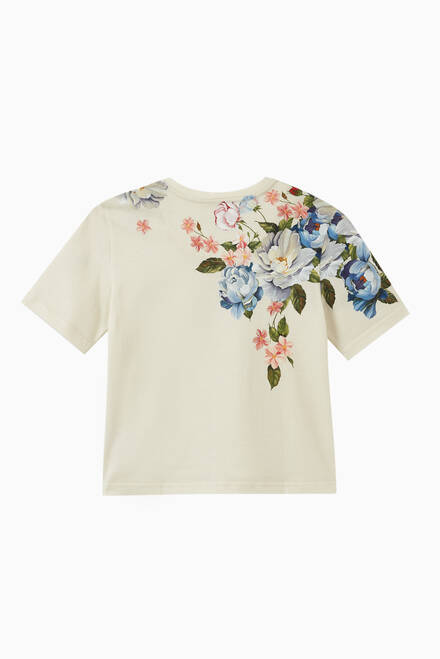 hover state of T-shirt with Flower Print in Cotton