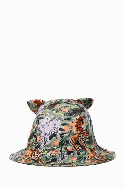 hover state of Floral Logo Bucket Hat in Twill