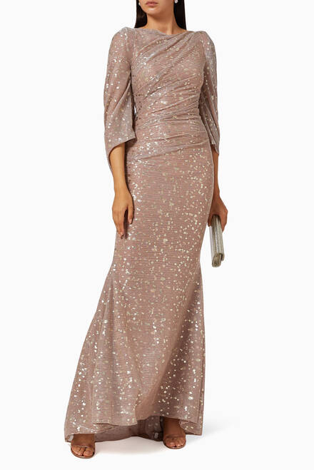 hover state of Metallic Draped Gown