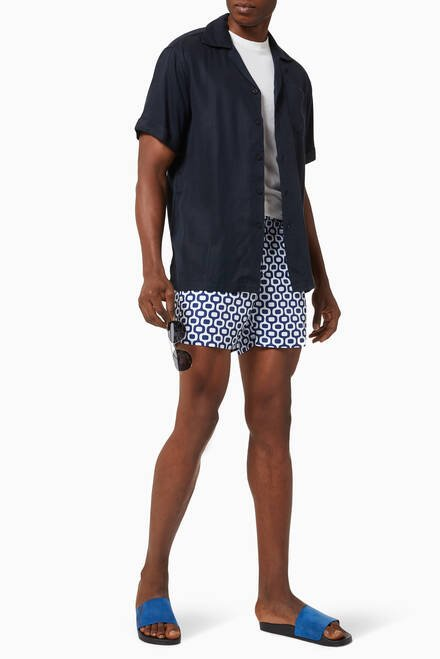 hover state of Classic Ipanema Print Swim Shorts in Cotton