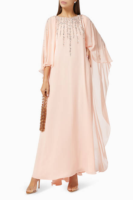 hover state of Sequin Embroidered Kaftan in Silk Chiffon