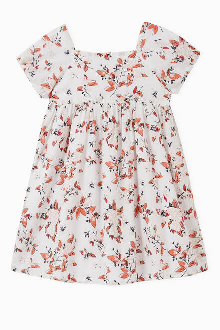 hover state of Floral Dress in Organic Cotton