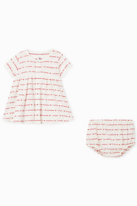 hover state of Woven Pattern Dress with Bloomers in Organic Cotton