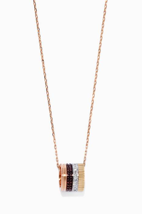 Mini Yellow, White & Rose-Gold Quarte Classique Ring Pendant Necklace