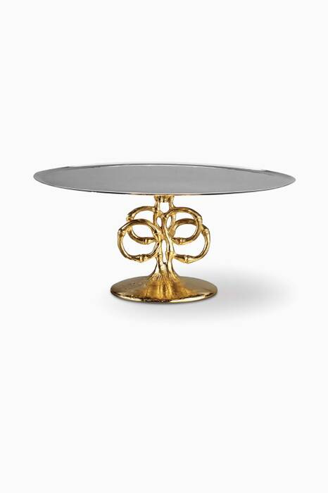 Gold Cake Plate With Bamboo Base