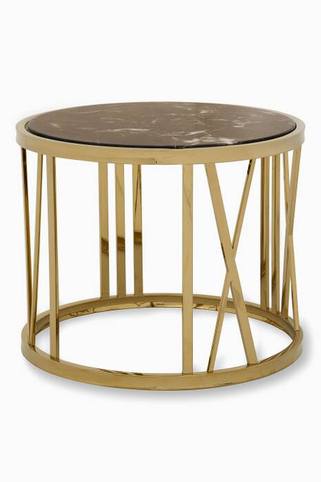 Baccarat Side Table with Marble Top