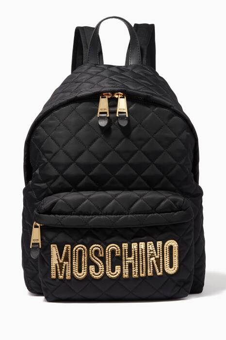 Black Quilted Logo Backpack