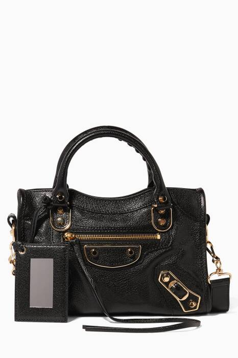 Black Mini Classic Metallic Edge City Tote Bag