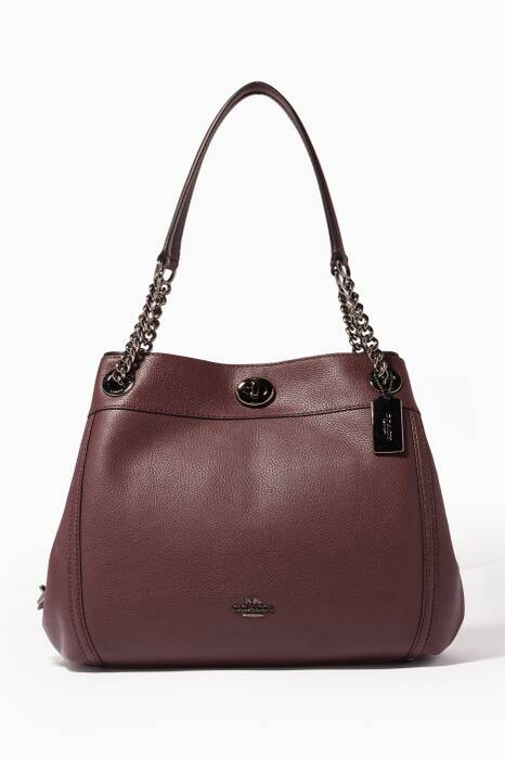Burgundy Turnlock Edie Shoulder Bag