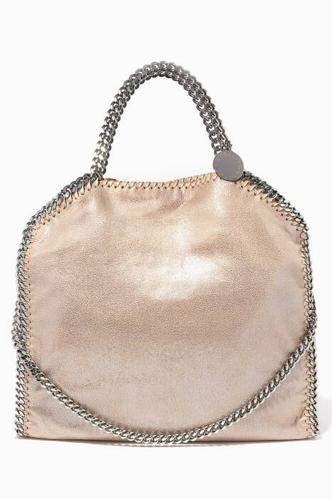 Beige Falabella Shiny Dotted Chamois Tote Bag